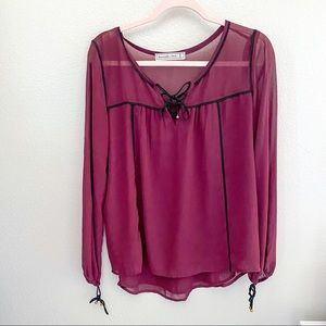 Abecrombie Peasent Burgundy Blouse Small